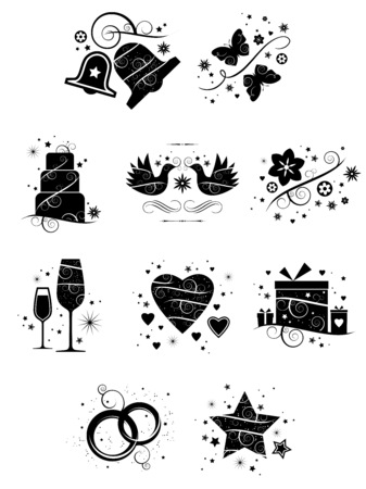 A set of ten beautifully crafted, ornate icons for wedding and romance applications Vector