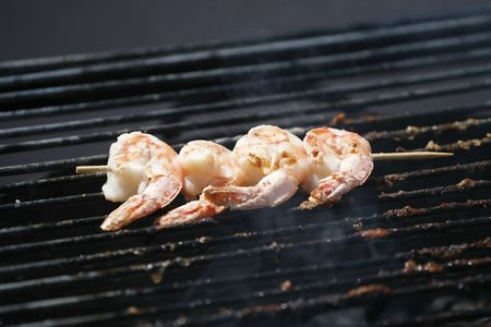Shrimp on Barbeque Grill photo