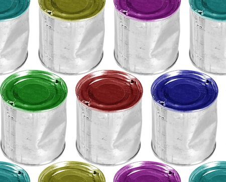 Six Colour Metal Cans on White Background Stock Photo - 4501155