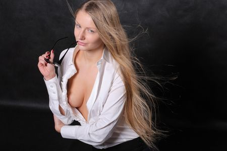 unbutton: Woman in white unbuttoned shirt