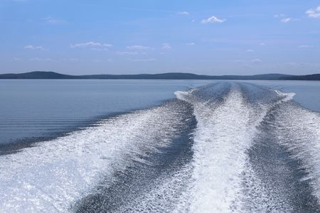 Wake caused by yacht photo