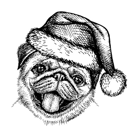 Sketch dog in Santa Claus hat illustration. Illustration