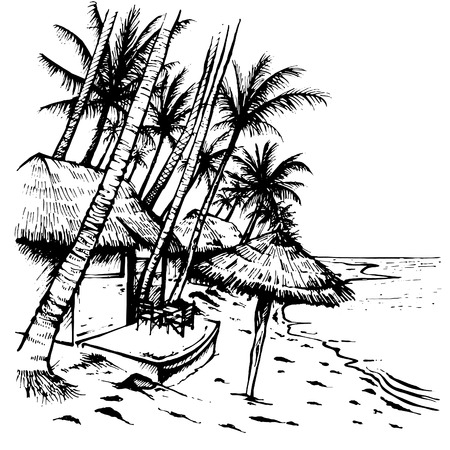 Summer beach sketch with palm trees, hovels and beach umbrella. Hand drawn vector illustration on white background. Ilustracja