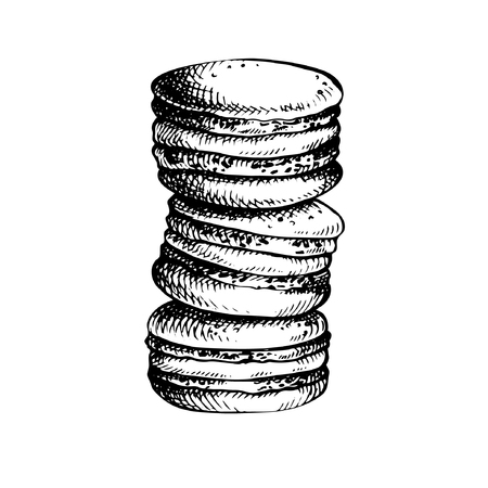Hand drawn Sketch Cake macarons, isolated on white background. French pastry vector illustration