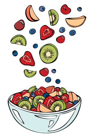 Fruit salad ingredients in the air. Kiwi,cherry,strawberry,peach, and blueberry in glass bowl isolated