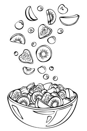 Fruit salad ingredients in the air. Kiwi,cherry,strawberry,peach, and blueberry in glass bowl Ilustracja