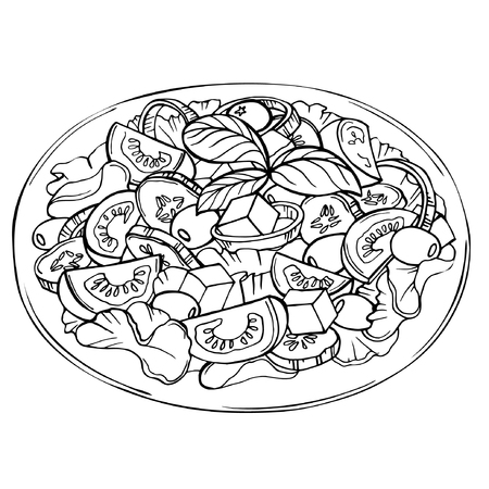 Italian Caprese salad with cherry tomatoes, baby mozzarella balls, olives and basil leaves. Hand drawn sketch of fresh salad. Organic food. Vector illustration on white background Çizim