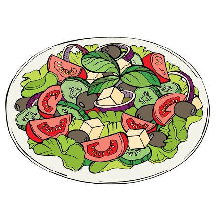 Fresh salad, organic food, vegetables. Color illustration of salad with greens, cherry tomatoes, onions, feta and cucumber on a white background. Çizim