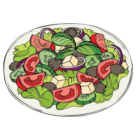 Salade fraîche, aliments biologiques, légumes. Illustration couleur d'une salade de légumes verts, tomates cerises, oignons, feta et concombre sur fond blanc Vecteurs