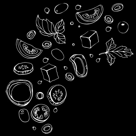 Croquis dessiné main d'ingrédients. Salade grecque fraîche avec légumes verts, olives, tomates cerises, oignons, fromage et concombre. Alimentation biologique. Illustration vectorielle sur fond noir Vecteurs