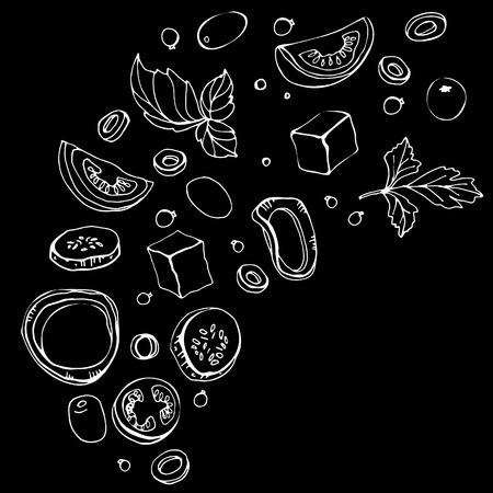 Hand getrokken schets van ingrediënten. Verse Griekse salade met greens, olijven, cherrytomaatjes, uien, kaas en komkommer. Biologisch voedsel. Vectorillustratie op zwarte achtergrond Stock Illustratie