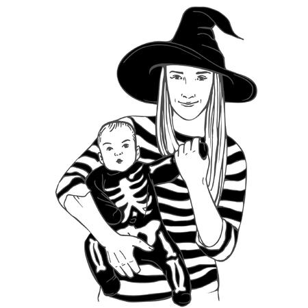 Baby mit Mutter kleidete in Halloween-Kostümen an. Kind, kleines Baby kleidete lustiges Skelett mit Mutter. Skelett Anzug, Hexenhut Standard-Bild - 89962270