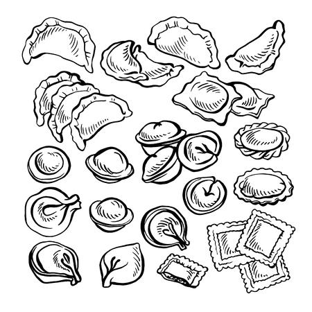 스케치 Vareniki 그려진 손. 만두. 고기 만두. 식품. 조리. 국가 요리. 반죽과 고기 제품.