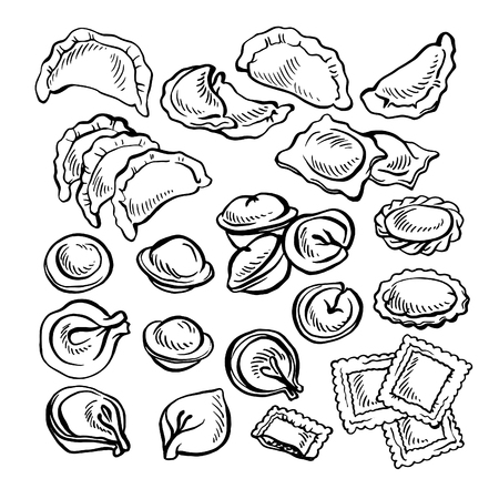 Sketch hand drawn Vareniki. Pelmeni. Meat dumplings. Food. Cooking. National dishes. Products from the dough and meat. Stock Vector - 89452406