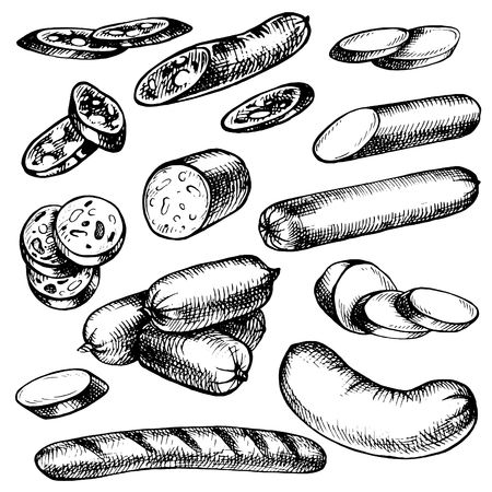 Hand drawn Sausages kind, Set of sketches meat products. Freehand food icons