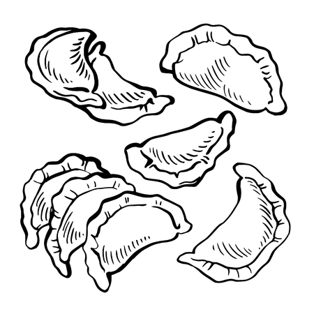 Sketch hand drawn Vareniki. dumplings. Food. Cooking. National dishes.traditional tasty Ukrainian food Stock Vector - 89410147