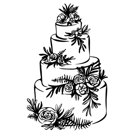 Hand drawn sketch of wedding cake with floral decoration isolated on a white. trending wedding cake