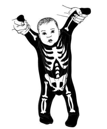 Baby dressed in Halloween costume. Kid, Little baby dressed funny skeleton. Skeleton suit