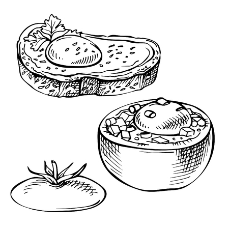 Sketch Eggs baked in tomato, in bread. Egg sandwiches, toast. Hand drawn doodle breakfast Çizim