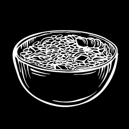 Sketch rice in bowl  cartoon hand drawn illustration, black and white, ink, sketch style Appetizing healthy rice with vegetables and shrimps Illustration