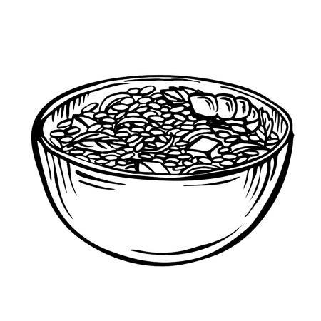Sketch rice in bowl  cartoon hand drawn illustration, black and white, ink, sketch style Appetizing healthy rice with vegetables and shrimps Çizim