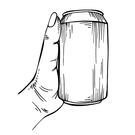 Blank Can in hand. Can be drawn. isolated on white. Beer can.