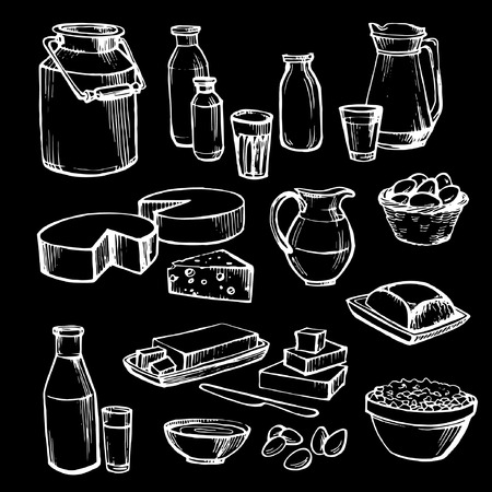 Milk and farm product. Set of hand drawn vector elements on black. Vector dairy products: milk, cheese, butter, yogurt, cheese, sour cream, eggs.