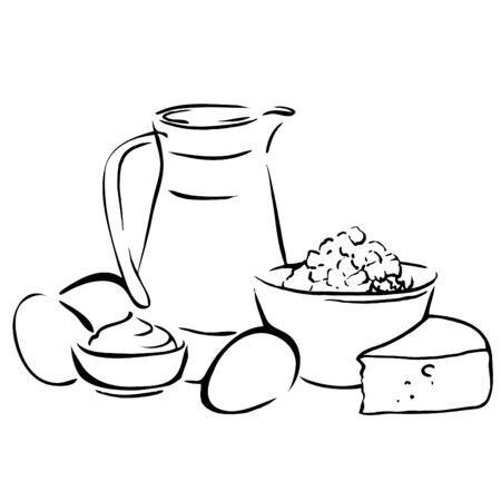 Sketch of dairy products. Milk and farm product. Set of hand drawn vector elements.