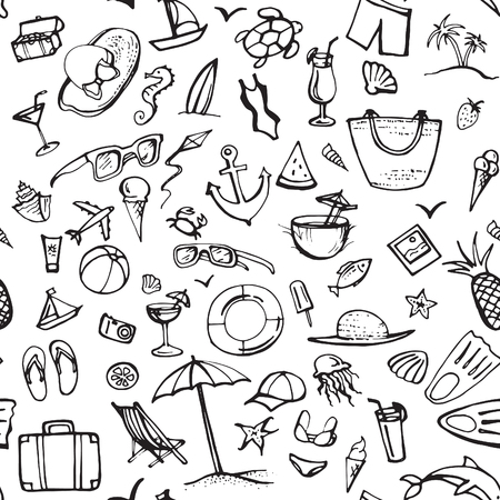 Summer doodle set. Summer beach holidays, travel, shoes, ice cream, shells, ball, drink, towel, sunglasses, parasol. Hand drawn doodle. Vector illustration isolated on white background Çizim