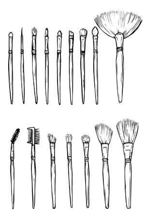 Hand drawn make-up artist work professional tools. A set of brushes any size for professional make-up artist. Tools make-up artist. Çizim