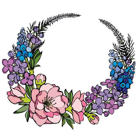 Vector natural round frame with roses, lilac, muscari and magnolia flowers. Flower illustration on white background. Floral wreath for creating card, invitation card for wedding and other holiday.