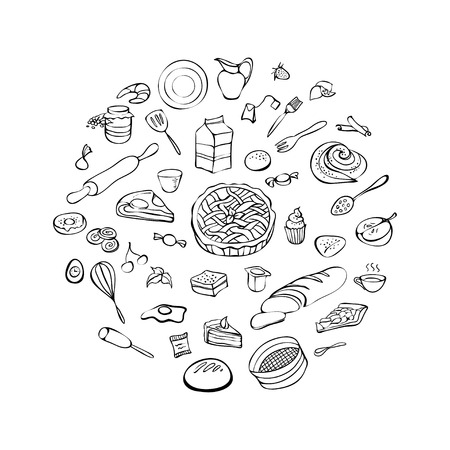 Bakery set, hand drawn vector illustration