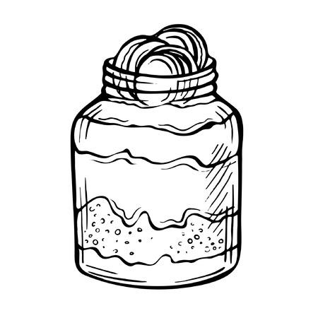 Sketch ink hand drawn doodle illustration of a yogurt with chocolate.Graphic yogurt pot isolated on white background. Fruit Parfait Doodle