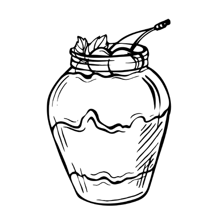 Sketch ink hand drawn doodle illustration of a yogurt with cherry.Graphic yogurt pot isolated on white background. Fruit Parfait Doodle