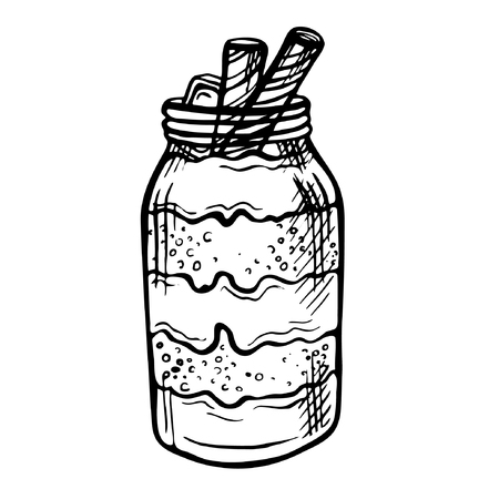 Sketch ink hand drawn doodle illustration of a yogurt with chocolate.Graphic yogurt pot isolated on white background. Fruit Parfait Doodle