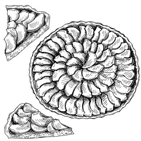 Pastel de manzana Sketch Ink. Dibujado a mano Vista superior de la tarta de manzana. Foto de archivo - 90058077