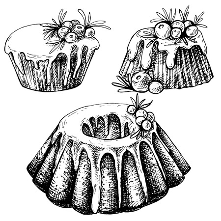Hand drawn sketch of Traditional x-mas food, cake. Christmas illustration with traditional pudding. Christmas mini cake with sugar icing, cranberries and rosemary Vettoriali