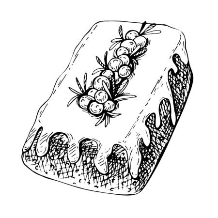 Hand drawn sketch of Traditional x-mas food, cake. Christmas illustration with traditional cake with sugar icing, cranberries and rosemary.