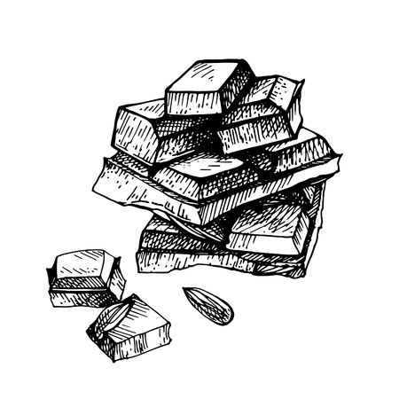 Hand drawn chocolate.Hand drawn chocolate bar broken into pieces, appetizing realistic drawing. illustration of chocolate bar on white background. Çizim