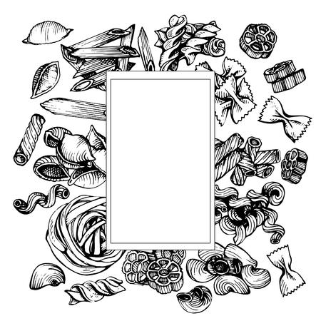 이탈리아 파스타 벡터 스케치입니다. 손으로 그려진 된 프레임 마카로니의 그림입니다. 일러스트