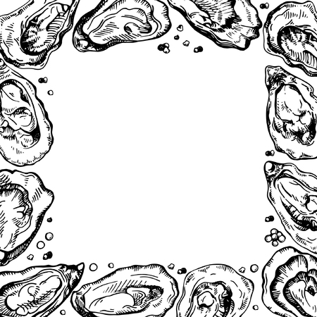 Sketch frame illustration of oyster. Ink border. Oyster farm and oyster restaurant design.