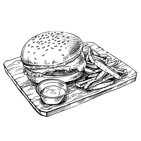 Hand drawn cheeseburger on wood.  Sketch Big humburger with cutlets, cheese, tomatoes, lettuce. american food. Çizim