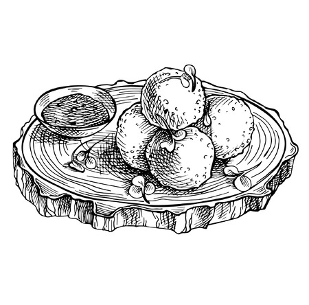 Sketch Fried mozzarella cheese balls on wooden board. Hand drawn cheese.  Italian Cuisine.