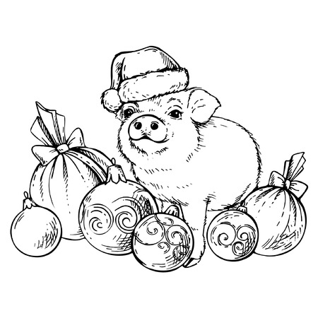 Sketch pig in Santas hat with Christmas balls. New Year 2019. Chinese year of the pig.