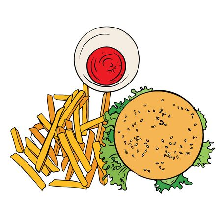 Hand drawn cheeseburger with fried potatoes.  Sketch humburger with lettuce. american food. 일러스트