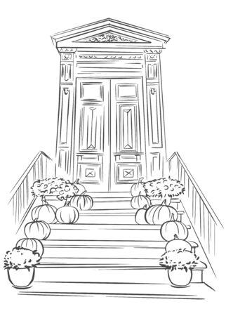 Disegna la porta d'ingresso decorata di Halloween con le zucche. Zucche di Halloween disegnate a mano sulle scale fuori da una casa