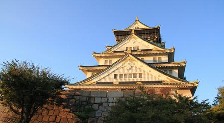 osaka castle: Osaka castle with sunset in Japan