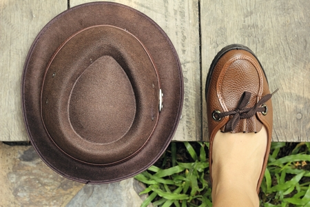 brown leather hat: Vintage brown leather shoes with hat