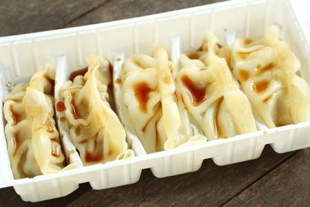 gyoza: Gyoza with sauce Stock Photo