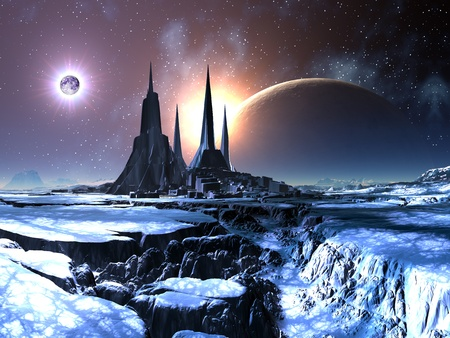 alien planet: Lost Alien City in Snow Stock Photo